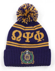 Omega Psi Phi Fraternity Pom Beanie- Crest- Purple/Gold-Front