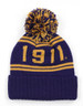 Omega Psi Phi Fraternity Pom Beanie- Crest- Purple/Gold-Back