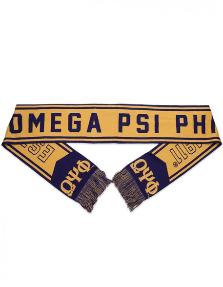 Omega Psi Phi Fraternity Scarf- Gold/Purple