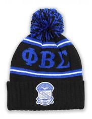 Phi Beta Sigma Fraternity Pom Beanie- Crest- Black/Blue