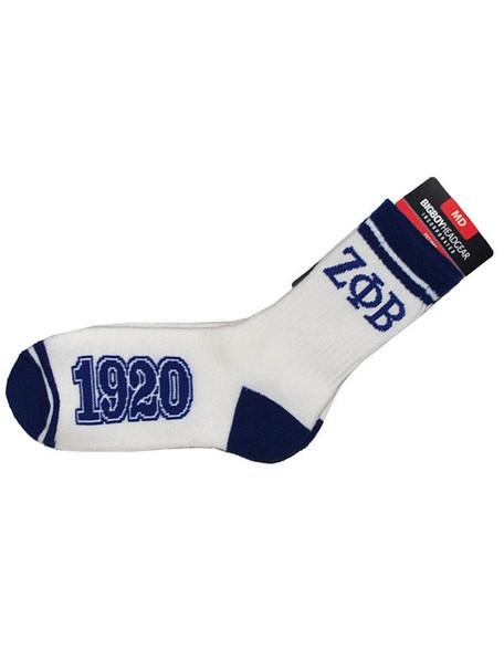 Zeta Phi Beta Sorority Socks-White/Blue