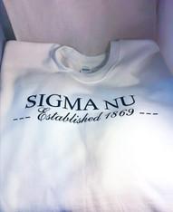 Sigma Nu Fraternity Crewneck Sweatshirt- White