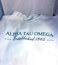 Alpha Tau Omega Fraternity Crewneck Sweatshirt- White