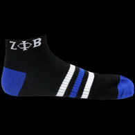 Zeta Phi Beta Sorority Multi-Color Ankle Socks- Black