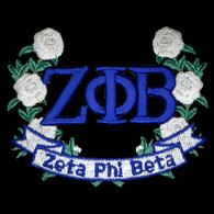 Zeta Phi Beta Sorority Wreath Emblem with Flowers
