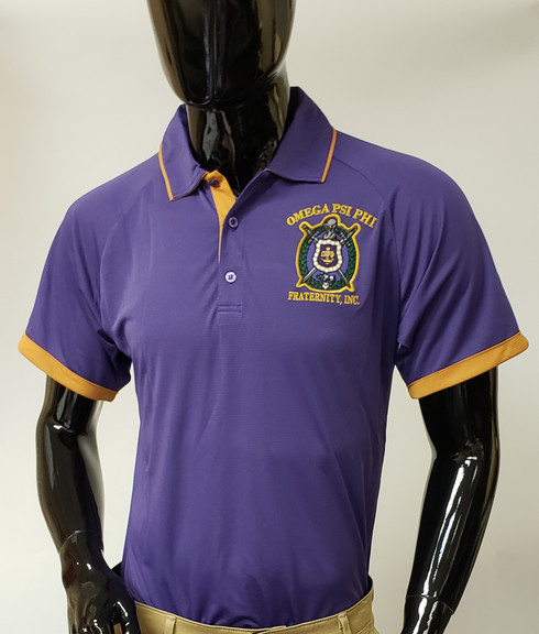 Omega Psi Phi Fraternity Dri-Fit Polo- Purple