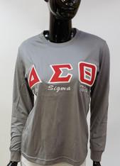 Delta Sigma Theta Sorority Long Sleeve Shirt- Gray