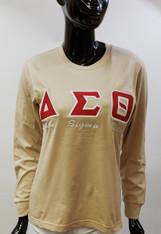 Delta Sigma Theta Sorority Long Sleeve Shirt- Khaki