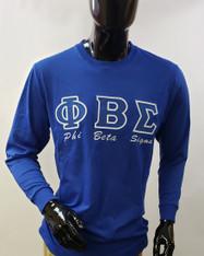Phi Beta Sigma Fraternity Long Sleeve Shirt- Blue