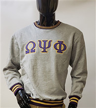 Omega Psi Phi Fraternity Crewneck- Gray