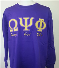 Omega Psi Phi Fraternity Long Sleeve Shirt- Purple