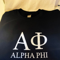 Alpha Phi Sorority Crewneck Sweatshirt- Black
