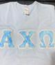 Shirt Inspiration – Light Blue Double Stitched Letter Shirt-Blue Letters
