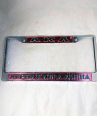 Alpha Kappa Alpha Three Greek Letter License Plate Frame- Style 2- Pink/Green