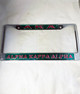 Alpha Kappa Alpha Three Greek Letter License Plate Frame- Style 2-Green/Pink