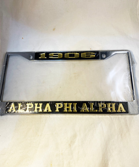 Alpha Phi Alpha Fraternity Founding Year License Plate Frame-Black/Gold- Style 2