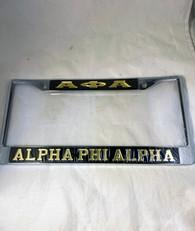 Alpha Phi Alpha Fraternity Three Greek Letter License Plate Frame-Style 2-Black/Gold