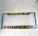 Omega Psi Phi Fraternity Three Greek Letter License Plate Frame- Style 2-Gold/Purple