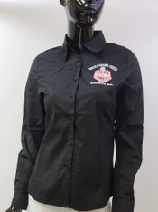 Delta Sigma Theta Sorority Button Down Collar Shirt-Black