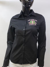 Alpha Kappa Alpha AKA Sorority Button Down Collar Shirt-Black