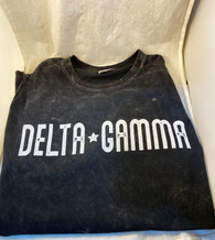Delta Gamma Sorority Mineral Wash Shirt- Black