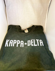 Kappa Delta Sorority Mineral Wash Shirt- Green- Size XL