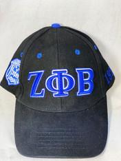 Zeta Phi Beta Sorority Three Greek Letter Baseball Hat- Black