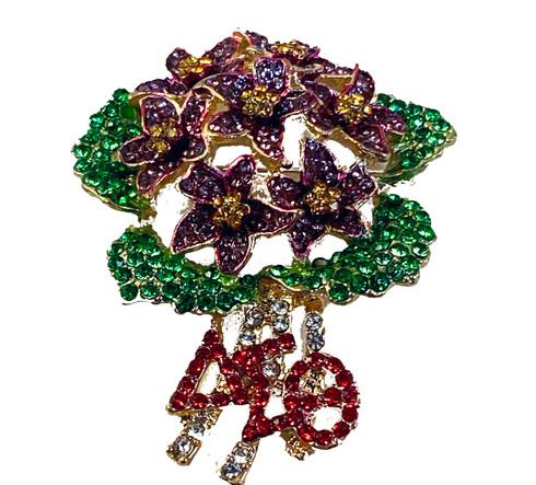 Delta Sigma Theta Sorority African Violet Pin- Gold