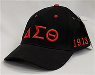 Delta Sigma Theta Sorority Three Greek Letter Baseball Hat- Black