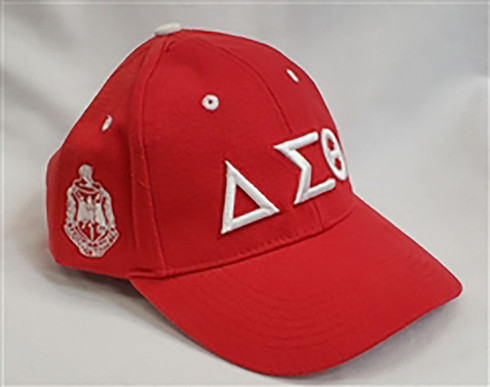Delta Sigma Theta Sorority Three Greek Letter Baseball Hat-Red