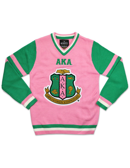 Alpha Kappa Alpha AKA Sorority Pull Over V-Neck Sweater- Pink/Green