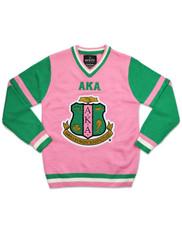 Alpha Kappa Alpha AKA Sorority Pull Over V-Neck Sweater- Pink/Green