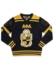 Alpha Phi Alpha Fraternity Pull Over V-Neck Sweater- Black/Gold