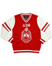 Delta Sigma Theta Sorority Pull Over V-Neck Sweater- Crest