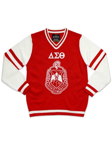 Delta Sigma Theta Sorority Pull Over V-Neck Sweater- Crest