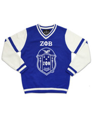 Zeta Phi Beta Sorority Pull Over V-Neck Sweater- Crest
