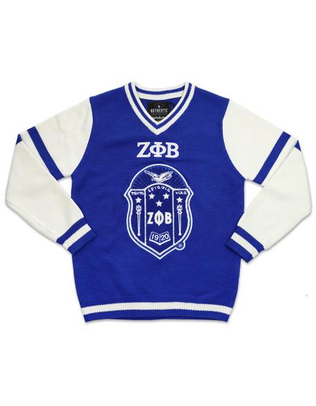 Zeta Phi Beta Sorority Pull Over V-Neck Sweater- Crest