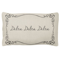 Delta Delta Delta Tri-Delta Sorority Decorative Pillow