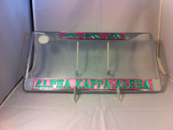 Alpha Kappa Alpha Three Greek Letter  License Plate Frame- Pink/Green