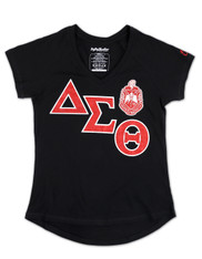 Delta Sigma Theta Sorority V-Neck Shirt-Black