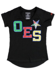 Order of the Eastern Star OES V-Neck Shirt-Black