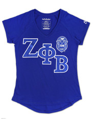 Zeta Phi Beta Sorority V-Neck Shirt-Blue
