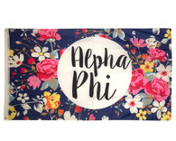 Alpha Phi Sorority Floral Flag- Style 3