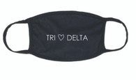 Delta Delta Delta Tri-Delta Sorority Face Mask-Black