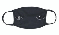 Delta Gamma Sorority Face Mask-Black- Heart