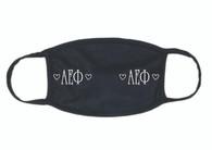 Alpha Epsilon Phi AEPHI Sorority Face Mask-Black- Heart
