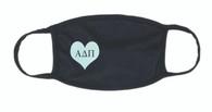 Alpha Delta Pi ADPI Sorority Face Mask-Heart-Black