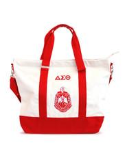 Delta Sigma Theta Sorority Canvas Bag- White/Red