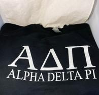 Alpha Delta Pi ADPI Sorority Crewneck Sweatshirt- Black