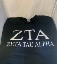 Zeta Tau Alpha ZTA Sorority Crewneck Sweatshirt- Black